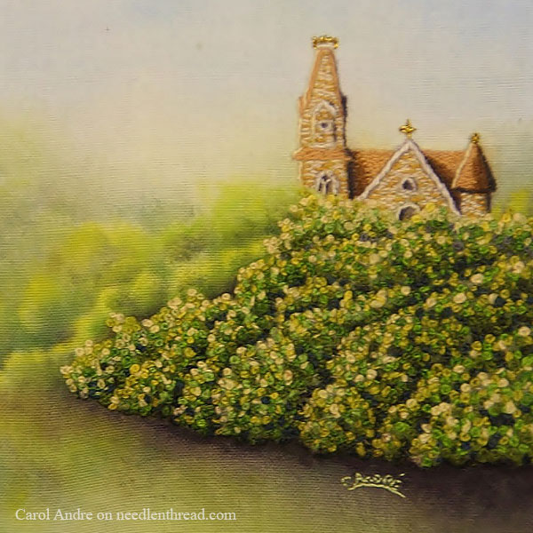 Mixed Media: Paint and Embroidery in Miniature - Church in Mt. Vernon, Iowa