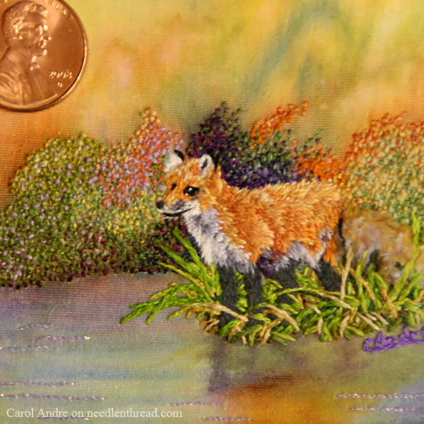 Mixed Media: Paint and Embroidery in Miniature - Fox