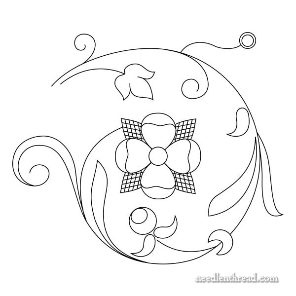 Rose Swirl hand embroidery design for goldwork and silk embroidery
