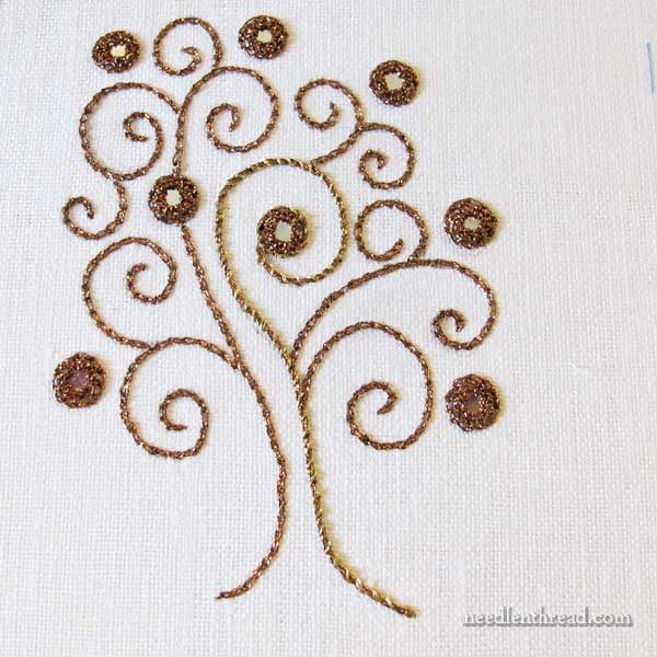 Embroidered tree with shisha embroidery and tambour work, in metallic thread