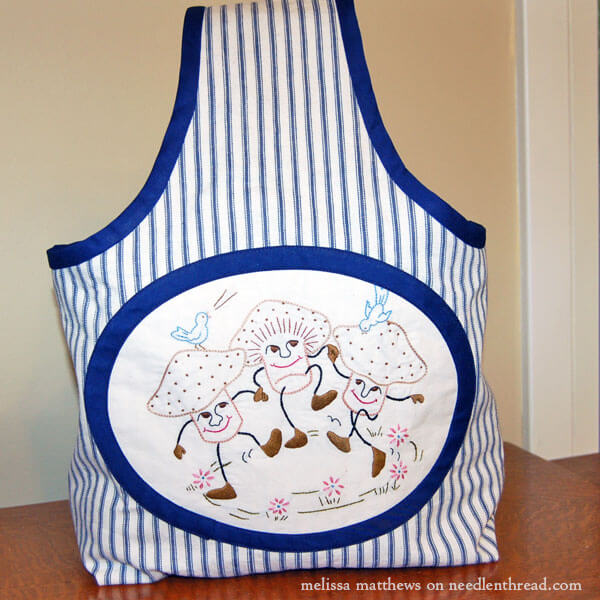 Embroidered Farmers Market Tote Bag - Dancing Mushrooms