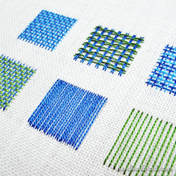 Needle weaving embroidery stitches and fillings