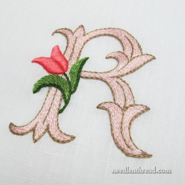 Tulip Monogram - R - worked in floche with stem stitch, split stitch, and satin stitch