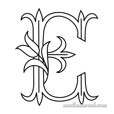 Tulip monogram for hand embroidery: E