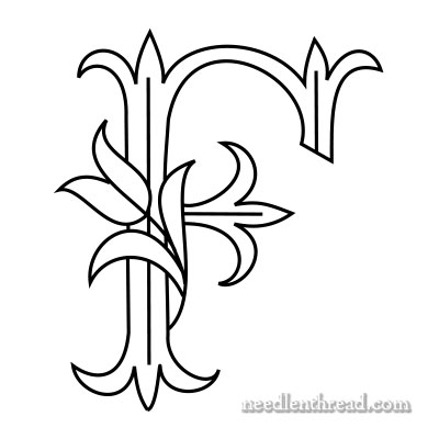 Tulip monogram for hand embroidery: F