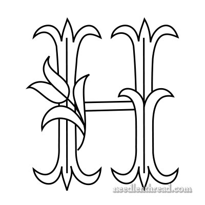Tulip monogram for hand embroidery: H