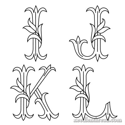 Monograms for hand embroidery, letters I though L - free printable