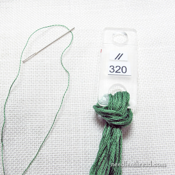 Separating one strand of embroidery floss at a time