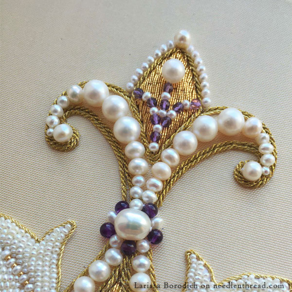 Goldwork & Pearl Embroidery from vintage goldwork sampler pattern