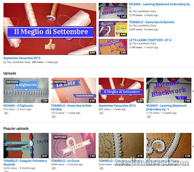Lace Making, Drawn Thread Work, and embroidery videos in Italian