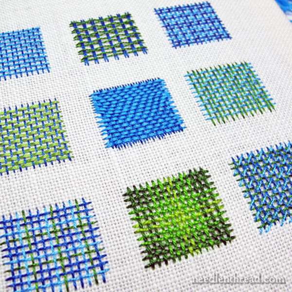 Basket weaving - embroidery stitch - sampler