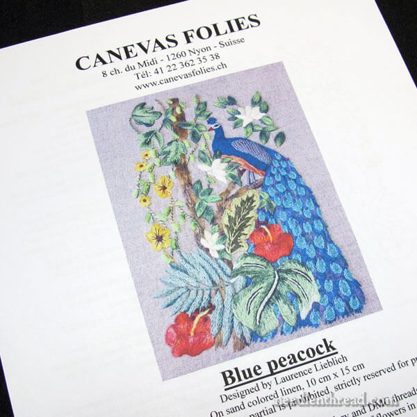 Peacock Embroidery Kit by Canevas Folies