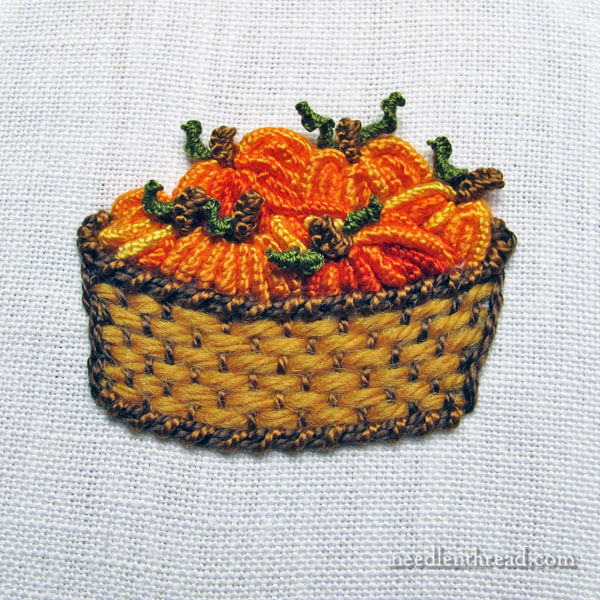 Basket of Pumpkins, embroidered