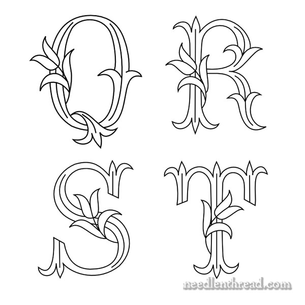 Tulip Monograms - decorative letters for hand embroidery
