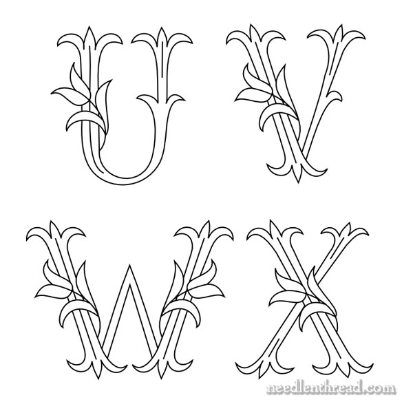 Embroidery Monograms - Tulips - U V W X