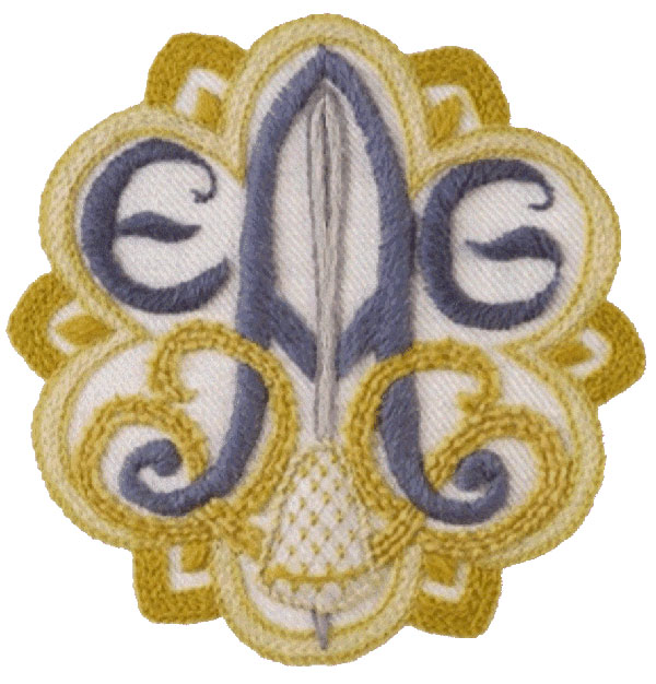EGA Logo in crewel embroidery