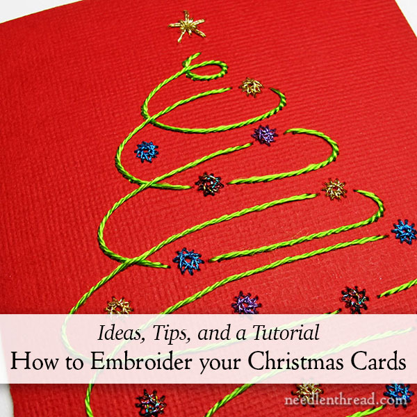 Hand Embroidered Christmas Cards - embroidery on paper