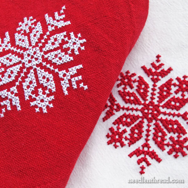 Folky Snowflake Corner for Counted Cross Stitch