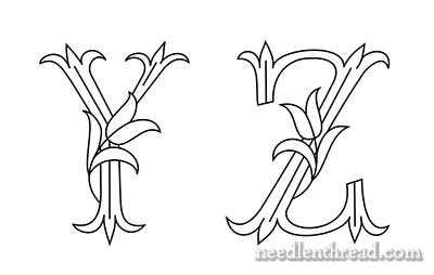 Monograms for Hand Embroidery - Tulips - Y and Z