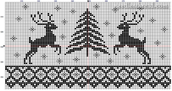 Deer and Tree Christmas cross stitch pattern