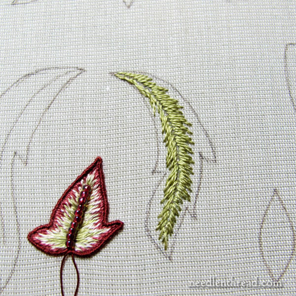 Late Harvest Embroidery Project - Stumpwork Leaves