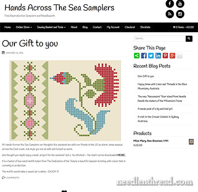 Hands Across the Sea Samplers - reproduction samplers
