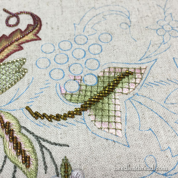 Late Harvest: Long and Short Stitch Leaf with Lattice Stitching & Beads