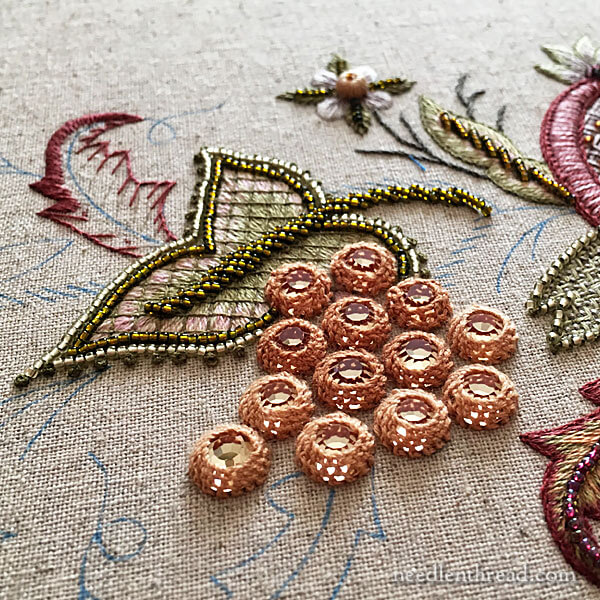Embroidering Flat Back Crystals onto Embroidery Projects - Late Harvest Grapes