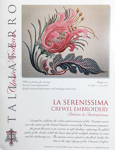 La Serenissima Crewel Embroidery instructional guide