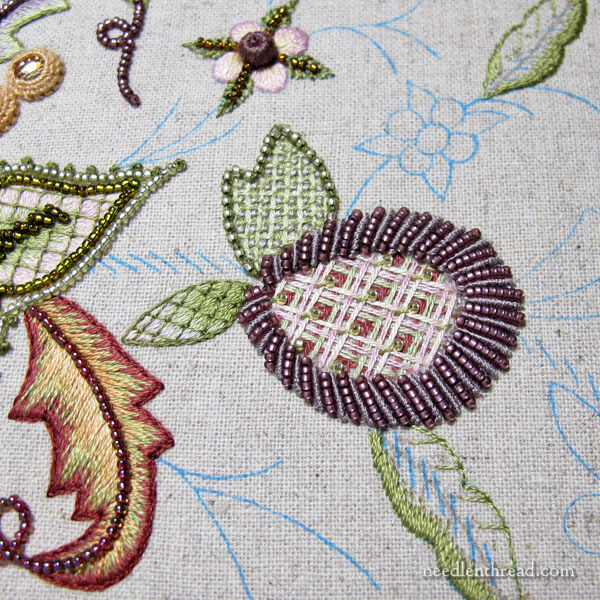 Battlement couching, beads, bullions on Late Harvest embroidery project