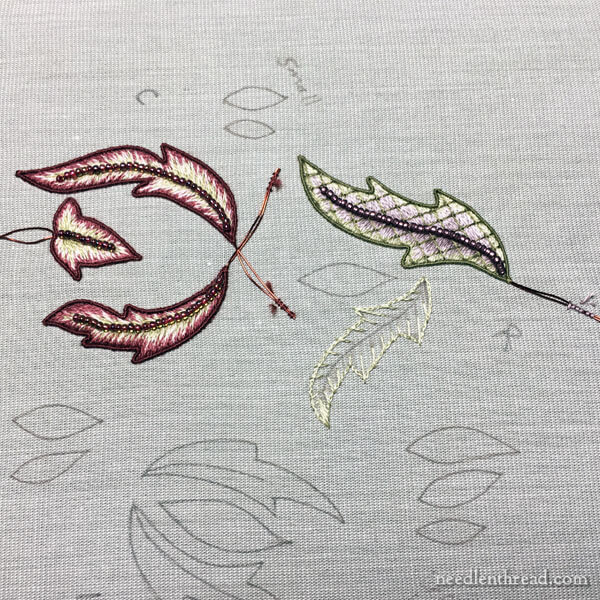 Stumpwork embroidery - leaf in long and short stitch with lattice and beads