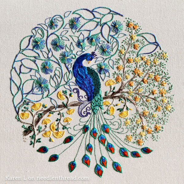 Coloring book embroidery a glorious peacock for Garden embroidery designs free