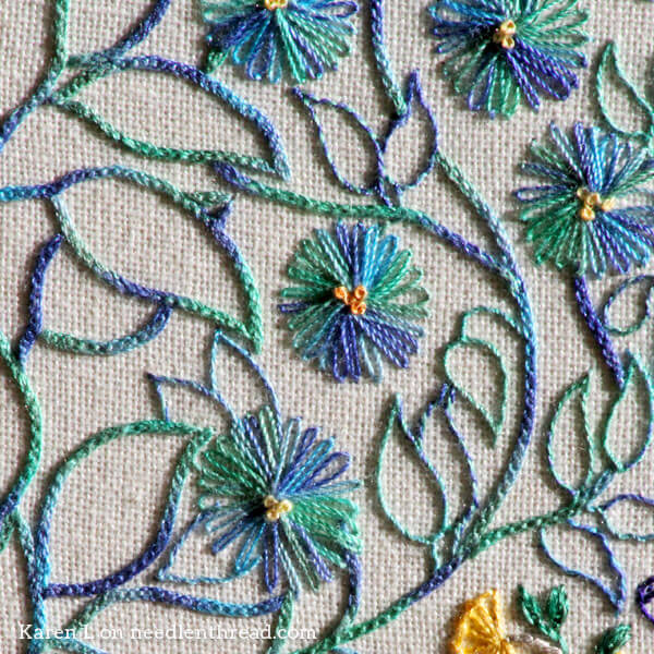 Embroidered Peacock Coloring Book Page Background Leaves