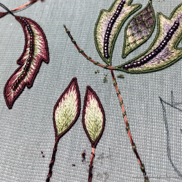 long and short stitch stumpwork leaves