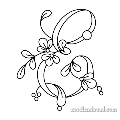 Floral Script Monogram for Hand Embroidery: E