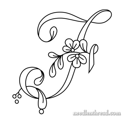 Floral Script Monogram for Hand Embroidery: F