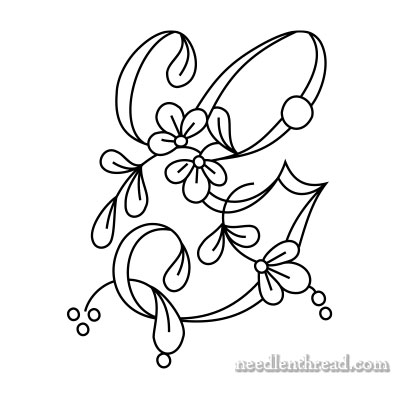 Floral Script Monograms For Embroidery E H on front letter