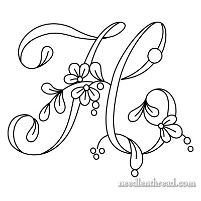 Floral Script Monogram for Hand Embroidery: H