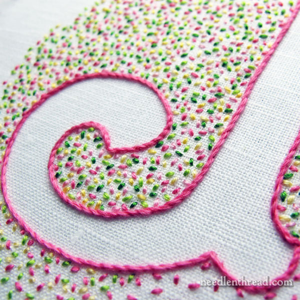Voided Embroidered Monogram: Confetti!