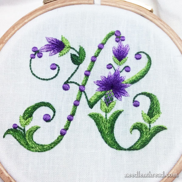 Purple & Green Monogram A with Floral Elements