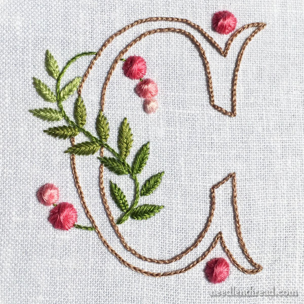 Monogram C in simple stitches