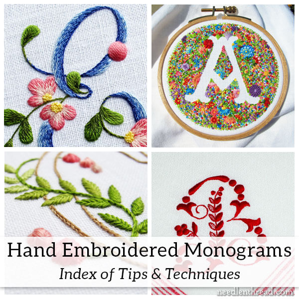 Embroidered Monograms: Tips & Techniques Index