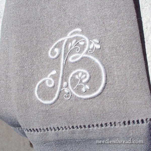 Whitework Embroidered Monogram on Linen Guest Towel