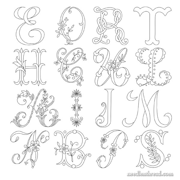 Hand embroidered monogram delicate spray a c for Embroidered alphabet letters
