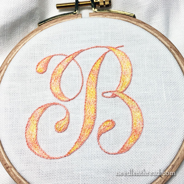 Hand Embroidered Monogram in Long & Short Stitch
