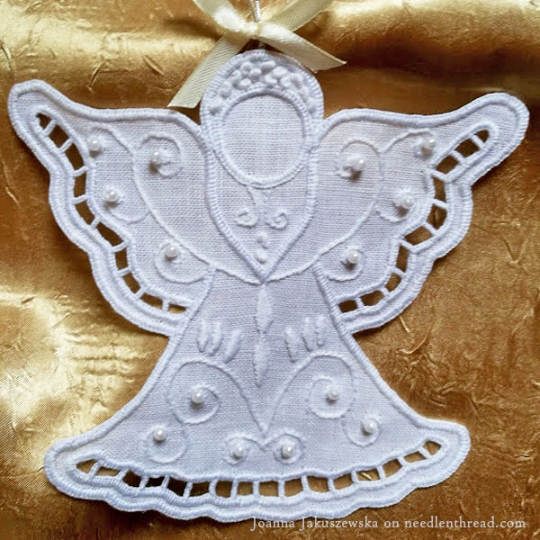Whitework Christmas Angel: Richelieu cutwork