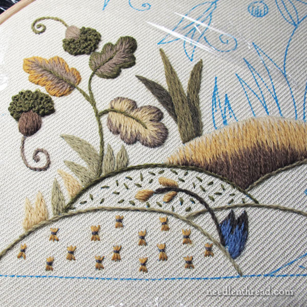Crewel Embroidery Project: Mellerstain Firescreen progress - lower right corner