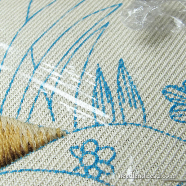 Crewel Embroidery Project: Mellerstain Firescreen progress - lower left grass