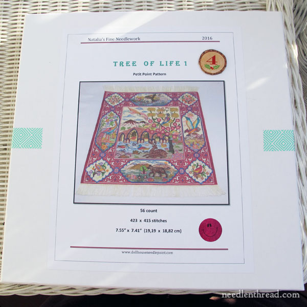Miniature Tree of Life Tapestry on 56-count silk gauze