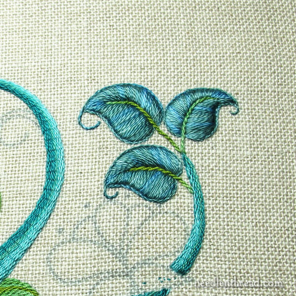 Modern Crewel - Surface embroidery project progress